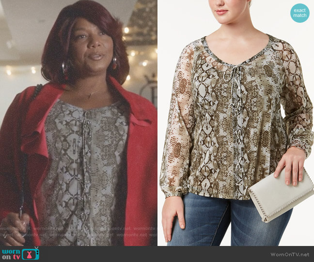Plus Size Snake-Print Peasant Top by INC International Concepts worn by Carlotta Brown (Queen Latifah) on Star