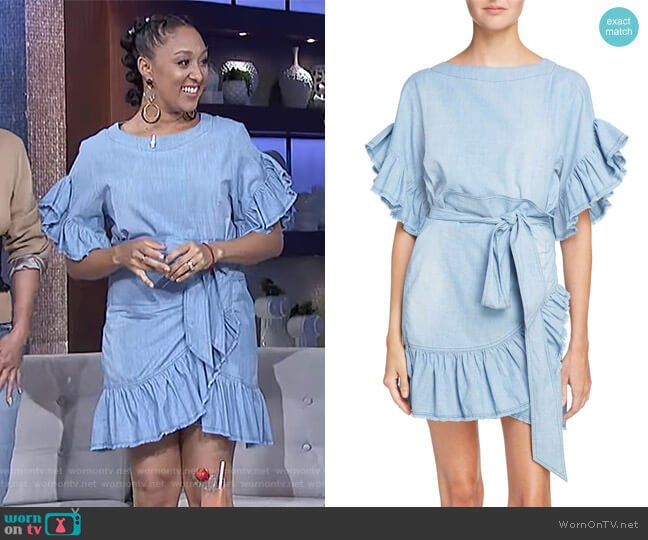 Etoile Lelicia Denim Ruffle Dress by Isabel Marant worn by Tamera Mowry on The Real