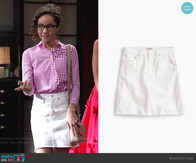 J. Crew White denim skirt with raw hem worn by Lexie Stevenson on The Young & the Restless