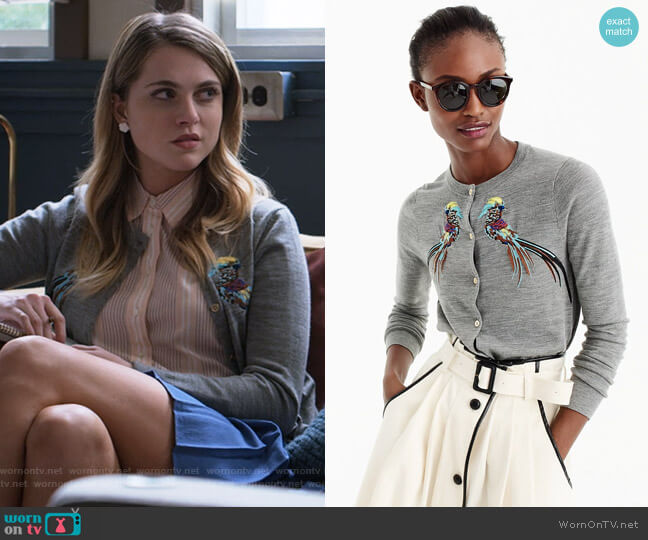 Embroidered Pheasant Jackie Cardigan by J. Crew worn by Chloe Rice (Anne Winters) on 13 Reasons Why