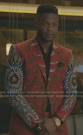 Jeff's red african print suit on Dynasty
