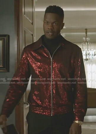 Jeff's red sequin bomber jacket on Dynasty