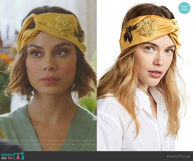 Rose Turban Headband by Jennifer Behr worn by Nathalie Kelley on Dynasty