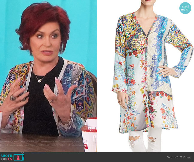Witteau Patchwork-Print Silk Cardigan by Johnny Was worn by Sharon Osbourne  on The Talk