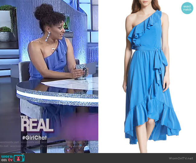 Damica Ruffle One-Shoulder Silk Dress by Joie worn by Tamera Mowry on The Real