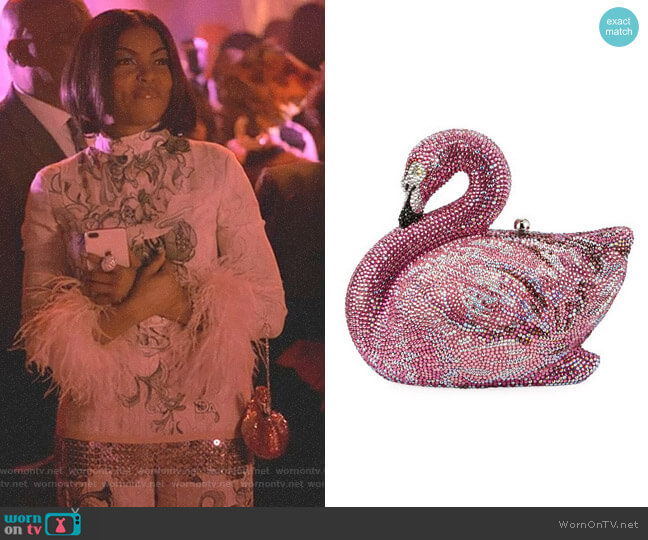 Avalon Flamingo Crystal Clutch Bag by Judith Leiber Couture worn by Taraji P. Henson on Empire