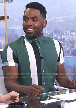 Justin's green striped shirt on E! News Daily Pop