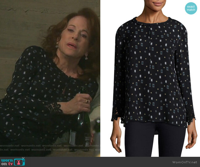 Cassie Printed Bell-Sleeve Silk Blouse by Kobi Halperin worn by Louise Sorel on Days of our Lives