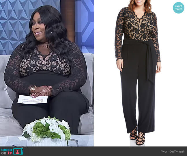 Scalloped Lace Palazzo Jumpsuit by Karen Kane worn by Loni Love on The Real