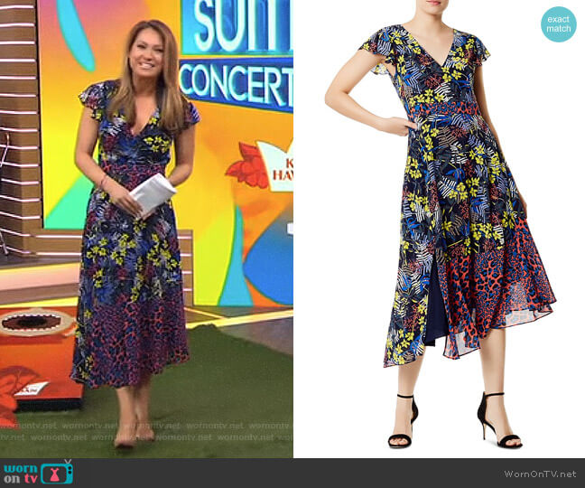 Mixed Print Lace-Up Midi Dress by Karen Millen worn by Ginger Zee  on Good Morning America
