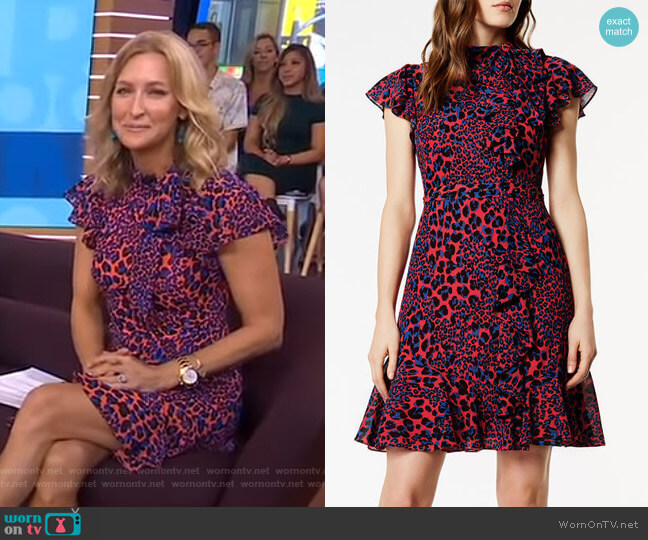 Ruffled Leopard Print Dress by Karen Millen worn by Lara Spencer on Good Morning America
