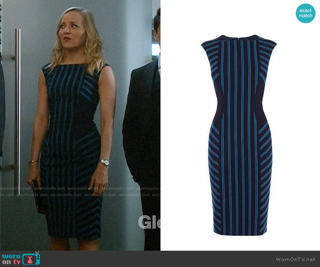 Karen Millen Striped Corset Pencil Dress worn by Geneva Carr on Bull