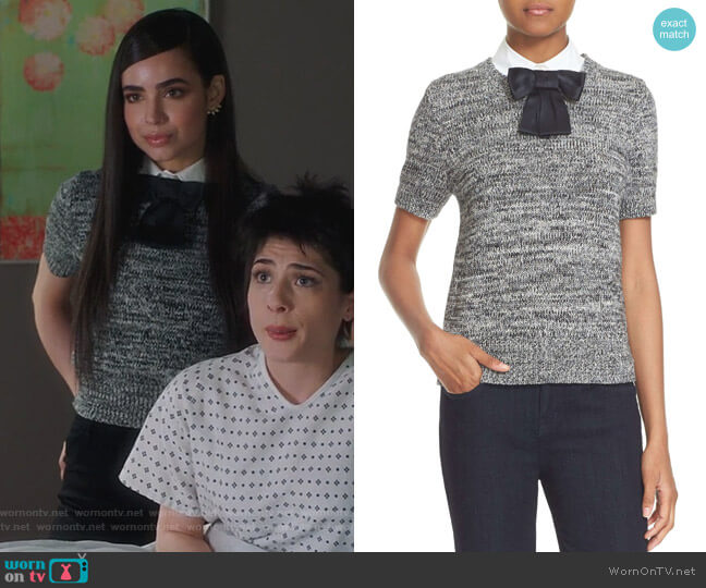 Bow Collar Short Sleeve Sweater by Kate Spade worn by Sofia Carson on Famous in Love