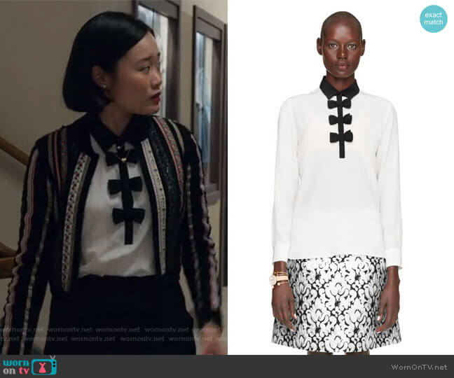 Contrast bow blouse by Kate Spade worn by Michele Selene Ang on 13 Reasons Why