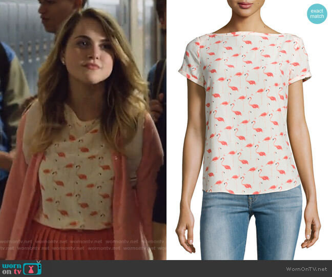 short-sleeve flamingo-print top by Kate Spade worn by Chloe Rice (Anne Winters) on 13 Reasons Why