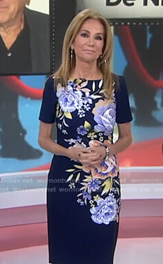 Kathie's navy floral sheath dress on Today