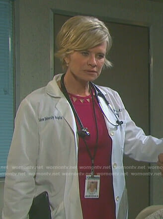 Kayla's pink dress with triangle cutouts on Days of our Lives