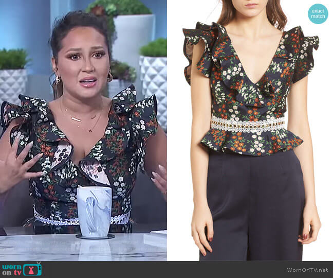 Faithful Ruffle Top by Keepsake worn by Adrienne Houghton on The Real
