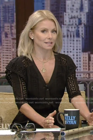 Kelly's black eyelet ruffled mini dress on Live with Kelly and Ryan