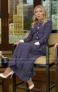 Kelly's navy polka dot shirtdress on Live with Kelly and Ryan