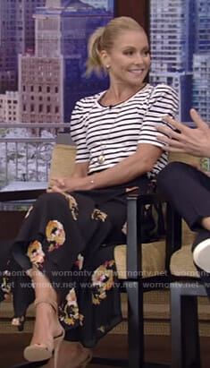 Kelly's white striped top and floral midi skirt on Live with Kelly and Ryan