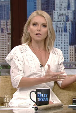 Kelly's white eyelet dress on Live with Kelly and Ryan