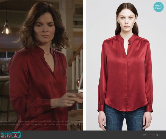 Bianca Blouse by L'Agence worn by Heather Hughes (Betsy Brandt) on Life in Pieces