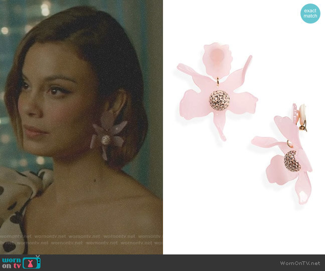 Crystal Lily Clip Earrings by Lele Sadoughi worn by Nathalie Kelley on Dynasty