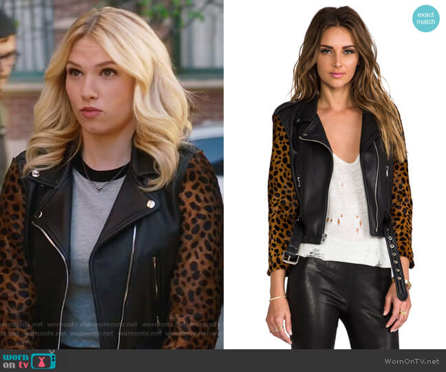 Shrunken Leather Moto Jacket by Laer worn by Claudia Lee on Famous in Love