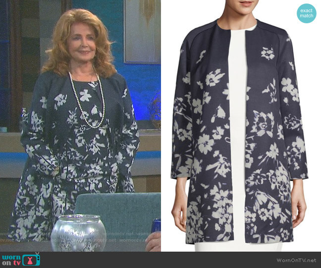 'Makeda' Floral-Print Jacket by Lafayette 148 New York worn by Suzanne Rogers on Days of our Lives