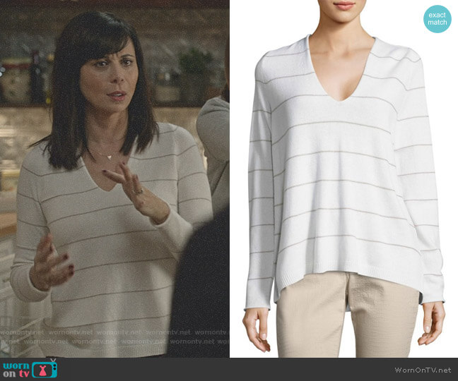 V-Neck Striped Cashmere Sweater by Lafayette 148 New York worn by Cassandra Nightingale (Catherine Bell) on Good Witch