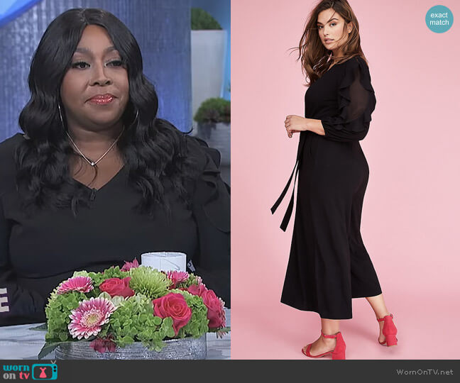 3/4 Sleeve Ruffle Jumpsuit by Lane Bryant worn by Loni Love on The Real