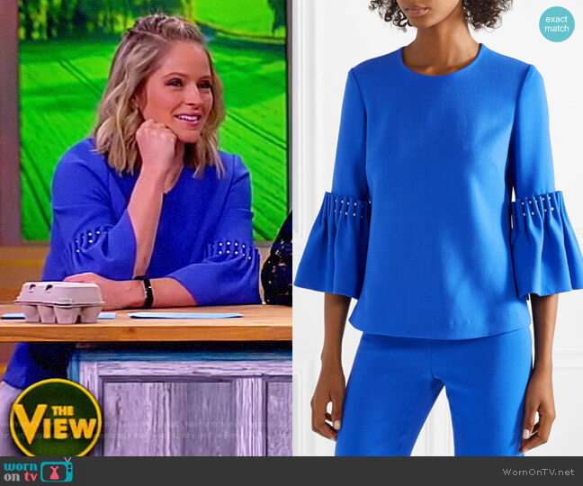 Faux pearl-embellished wool-blend crepe top by Lela Rose worn by Sara Haines  on The View