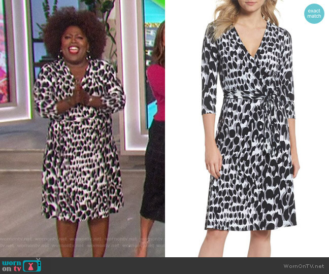 Print Jersey Faux Wrap Dress by Leota worn by Sheryl Underwood  on The Talk
