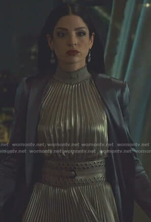 Lilith's metallic pleated midi dress on Shadowhunters