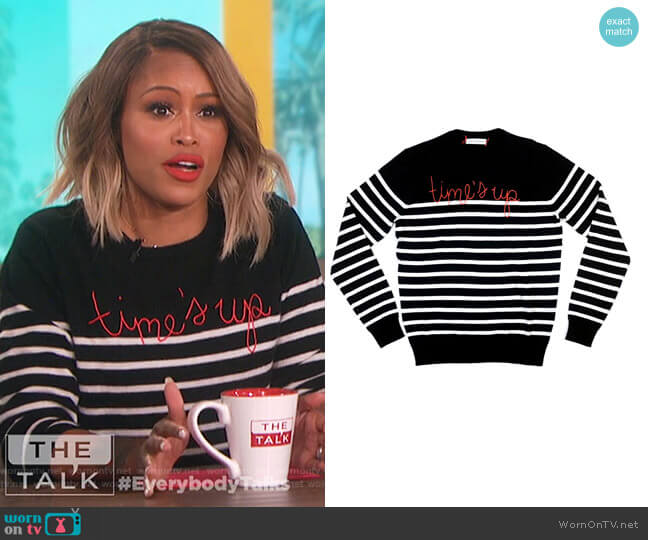 Time's up sweater by Lingua Franca worn by Eve (Eve) on The Talk