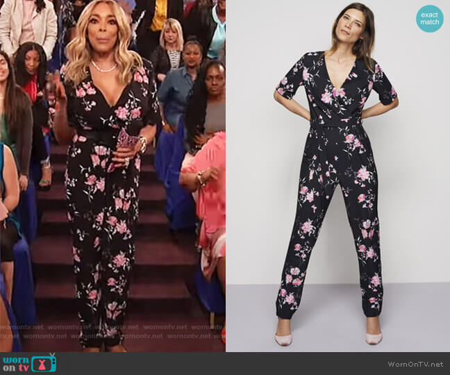 Printed V-neck Jumpsuit worn by Wendy Williams  on The Wendy Williams Show