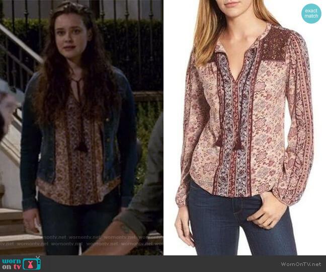 Vintage Mixed Print Top by Lucky Brand worn by Hannah Baker (	Katherine Langford) on 13 Reasons Why