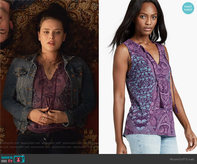 Mosaic Print Tank by Lucky Brand worn by 	Katherine Langford on 13 Reasons Why