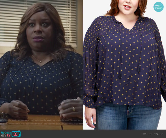 Plus Size Smocked Top by Lucky Brand worn by Retta on Good Girls