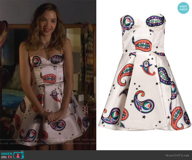 Paisley Print Satin Mini Dress by Msgm worn by Georgie Flores on Famous in Love