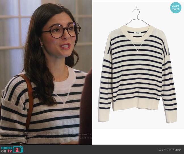 Cashmere Sweatshirt in Stripe by Madewell  worn by Lisa Apple (Monica Barbaro) on Splitting Up Together