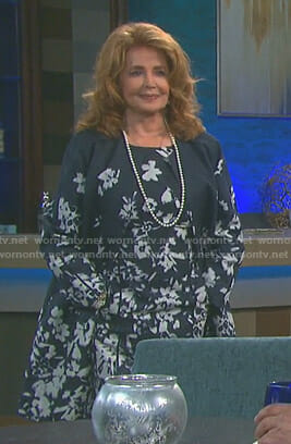 Maggie's floral dress and long jacket on Days of our Lives
