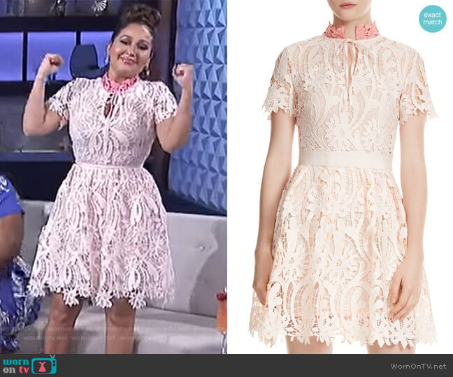 Regina Floral Lace Dress by Maje worn by Adrienne Houghton on The Real