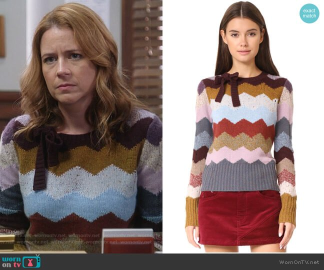 Intarsia Sweater by Marc Jacobs worn by Lena (Jenna Fischer) on Splitting Up Together