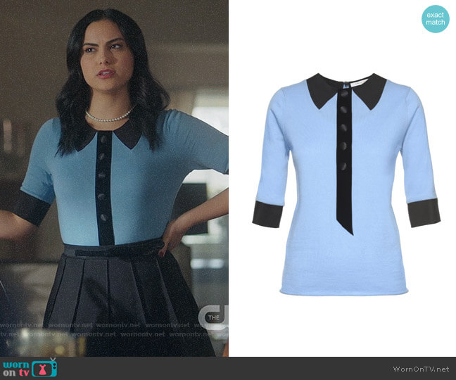 Marc Jacobs Trompe L'Oeil Knit Short Sleeve Sweater worn by Camila Mendes on Riverdale
