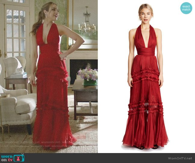 'Kalina' Tiered Dress by Maria Lucia Hohan worn by Fallon Carrington (Elizabeth Gillies) on Dynasty