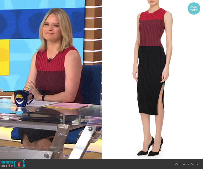 'Mariana' Ribbed Colorblock Sheath Dress by Altuzarra worn by Sara Haines on Good Morning America