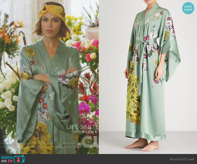Floral-Print Silk-Satin Kimono Robe by Meng worn by Cristal Flores (Nathalie Kelley) on Dynasty