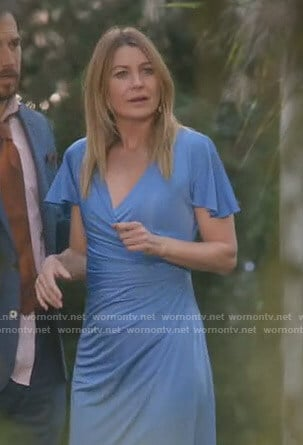 Meredith's blue ruched gown on Grey's Anatomy